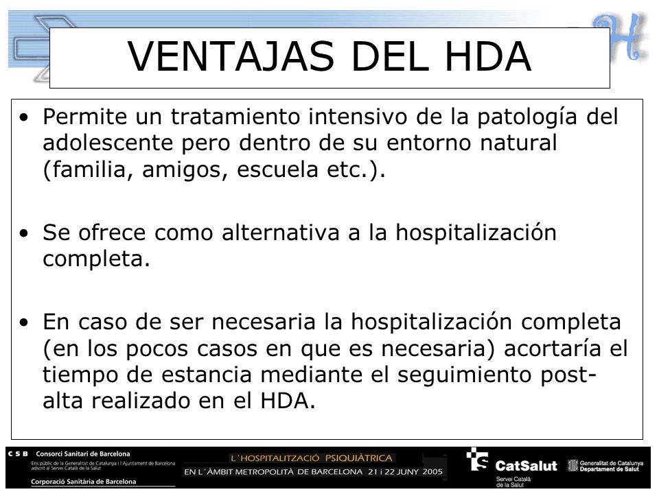 VENTAJAS DEL HDA Permite un tratamiento intensivo de la patología del adolescente pero dentro de su entorno natural (familia, amigos, escuela etc.). S
