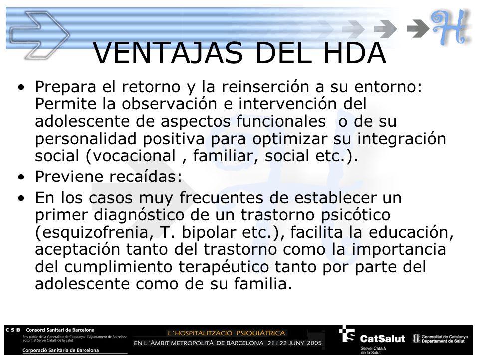 VENTAJAS DEL HDA Prepara el retorno y la reinserción a su entorno: Permite la observación e intervención del adolescente de aspectos funcionales o de