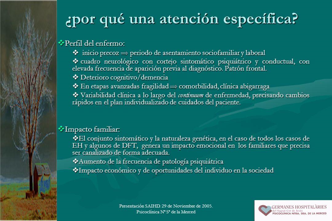 Presentación SAIHD. 29 de Noviembre de 2005. Psicoclínica Nª Sª de la Merced ¿por qué una atención específica? Perfil del enfermo: Perfil del enfermo: