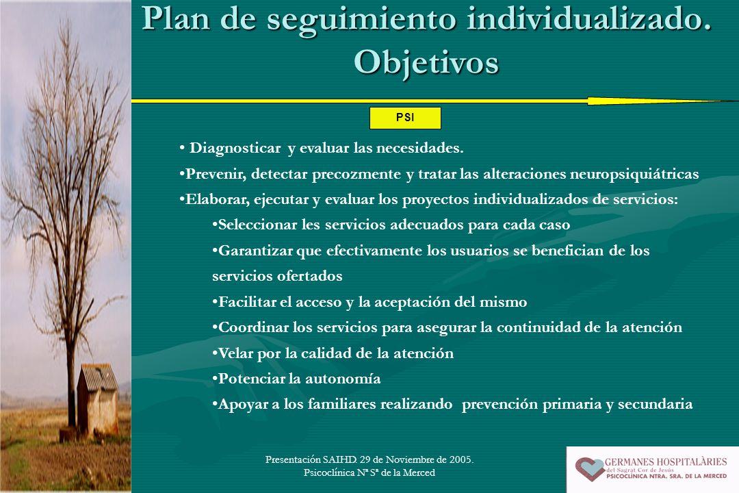 Presentación SAIHD. 29 de Noviembre de 2005. Psicoclínica Nª Sª de la Merced Plan de seguimiento individualizado. Objetivos Diagnosticar y evaluar las