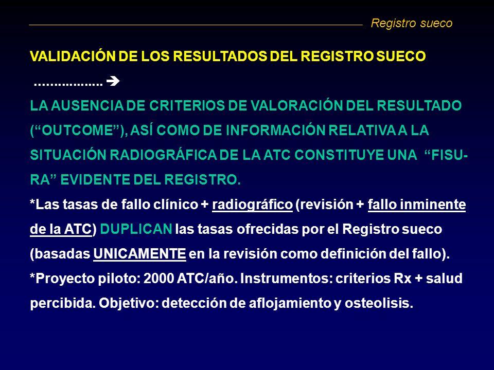 VALIDACIÓN DE LOS RESULTADOS DEL REGISTRO SUECO.................. LA AUSENCIA DE CRITERIOS DE VALORACIÓN DEL RESULTADO (OUTCOME), ASÍ COMO DE INFORMAC