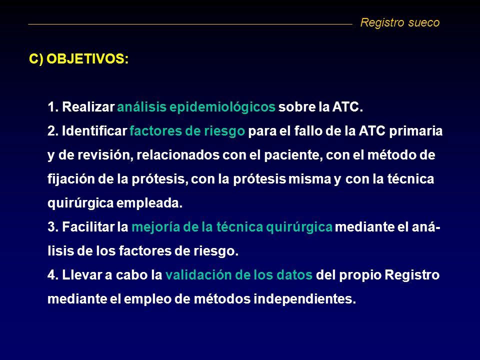 C) OBJETIVOS: 1. Realizar análisis epidemiológicos sobre la ATC. 2. Identificar factores de riesgo para el fallo de la ATC primaria y de revisión, rel