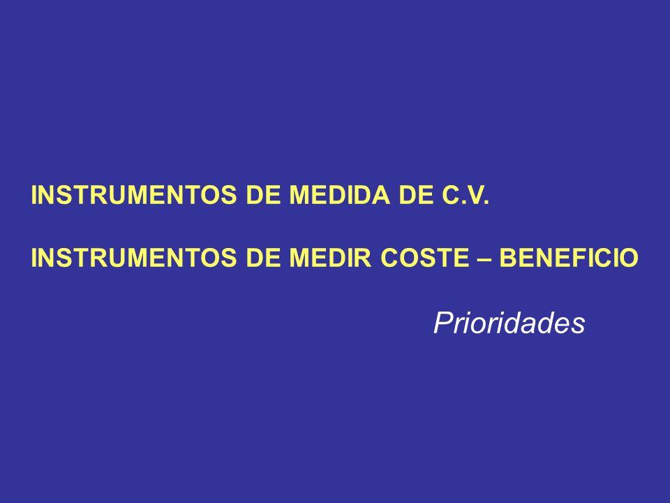 INSTRUMENTOS DE MEDIDA DE C.V. INSTRUMENTOS DE MEDIR COSTE – BENEFICIO Prioridades