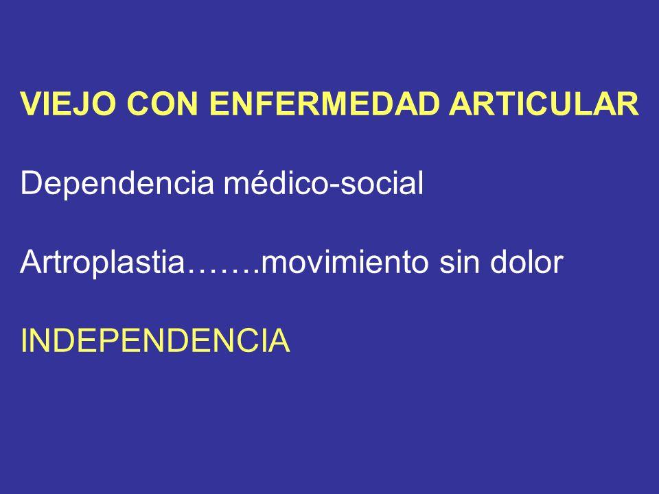 VIEJO CON ENFERMEDAD ARTICULAR Dependencia médico-social Artroplastia…….movimiento sin dolor INDEPENDENCIA