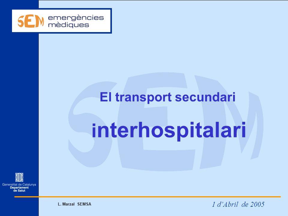 1 dAbril de 2005 L. Marzal SEMSA El transport secundari i nterhospitalari