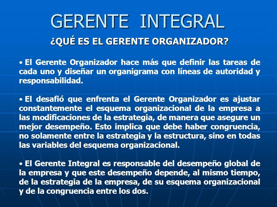 GERENTE INTEGRAL ¿QUÉ ES EL GERENTE ORGANIZADOR? El Gerente Organizador hace más que definir las tareas de cada uno y diseñar un organigrama con línea