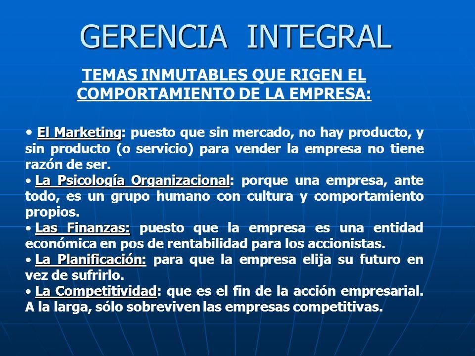 GERENCIA INTEGRAL TEMAS INMUTABLES QUE RIGEN EL COMPORTAMIENTO DE LA EMPRESA: El Marketing El Marketing: puesto que sin mercado, no hay producto, y si