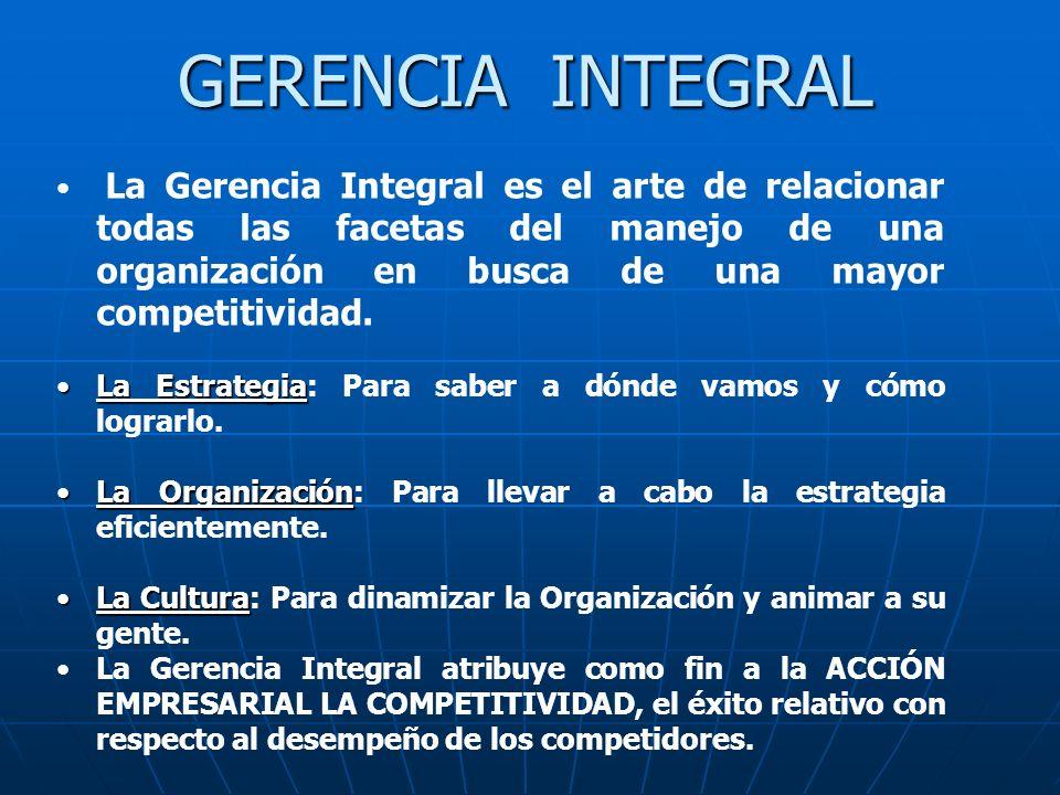 La Gerencia Integral es el arte de relacionar todas las facetas del manejo de una organización en busca de una mayor competitividad. La EstrategiaLa E