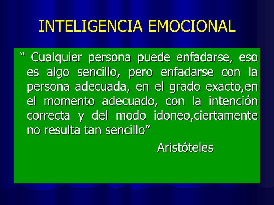 INTELIGENCIA EMOCIONAL Cualquier persona puede enfadarse, eso es algo sencillo, pero enfadarse con la persona adecuada, en el grado exacto,en el momento adecuado, con la intención correcta y del modo idoneo,ciertamente no resulta tan sencillo Cualquier persona puede enfadarse, eso es algo sencillo, pero enfadarse con la persona adecuada, en el grado exacto,en el momento adecuado, con la intención correcta y del modo idoneo,ciertamente no resulta tan sencillo Aristóteles Aristóteles