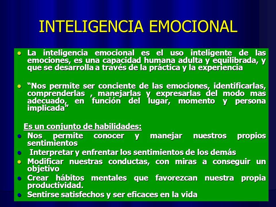 INTELIGENCIA EMOCIONAL La inteligencia emocional es el uso inteligente de las emociones, es una capacidad humana adulta y equilibrada, y que se desarrolla a través de la práctica y la experiencia La inteligencia emocional es el uso inteligente de las emociones, es una capacidad humana adulta y equilibrada, y que se desarrolla a través de la práctica y la experiencia Nos permite ser conciente de las emociones, identificarlas, comprenderlas, manejarlas y expresarlas del modo mas adecuado, en función del lugar, momento y persona implicada Nos permite ser conciente de las emociones, identificarlas, comprenderlas, manejarlas y expresarlas del modo mas adecuado, en función del lugar, momento y persona implicada Es un conjunto de habilidades: Es un conjunto de habilidades: Nos permite conocer y manejar nuestros propios sentimientos Nos permite conocer y manejar nuestros propios sentimientos Interpretar y enfrentar los sentimientos de los demás Interpretar y enfrentar los sentimientos de los demás Modificar nuestras conductas, con miras a conseguir un objetivo Modificar nuestras conductas, con miras a conseguir un objetivo Crear hábitos mentales que favorezcan nuestra propia productividad.
