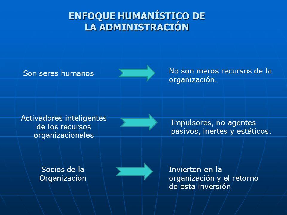Son seres humanos No son meros recursos de la organización. Activadores inteligentes de los recursos organizacionales Impulsores, no agentes pasivos,