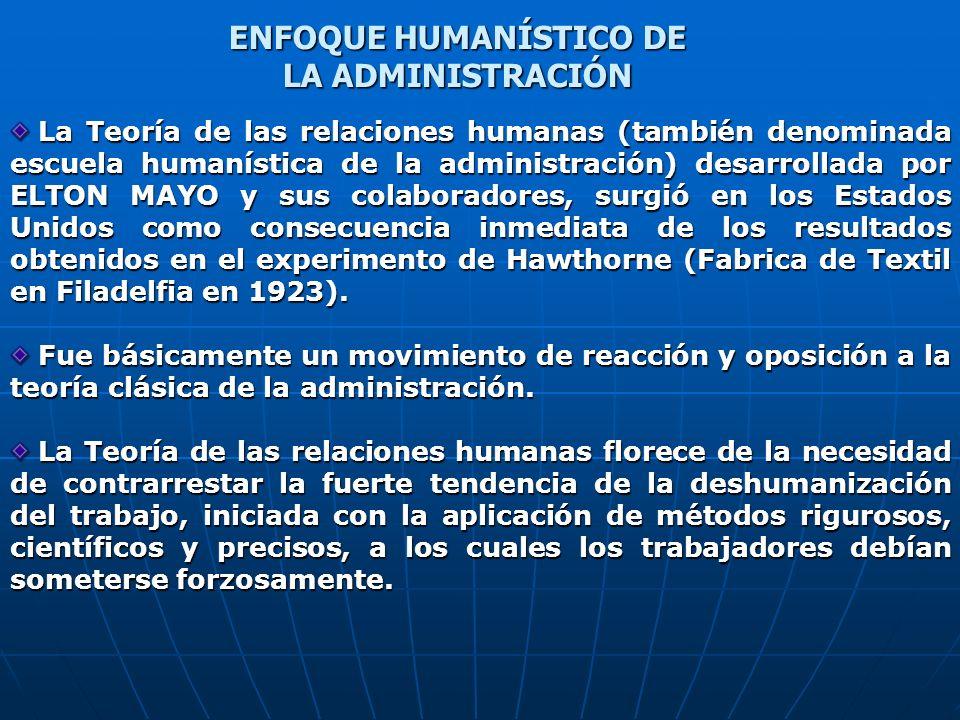 La Teoría de las relaciones humanas (también denominada escuela humanística de la administración) desarrollada por ELTON MAYO y sus colaboradores, sur