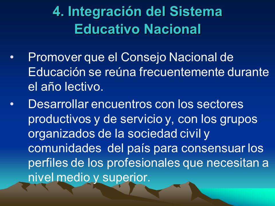 4. Integración del Sistema Educativo Nacional Promover que el Consejo Nacional de Educación se reúna frecuentemente durante el año lectivo. Desarrolla