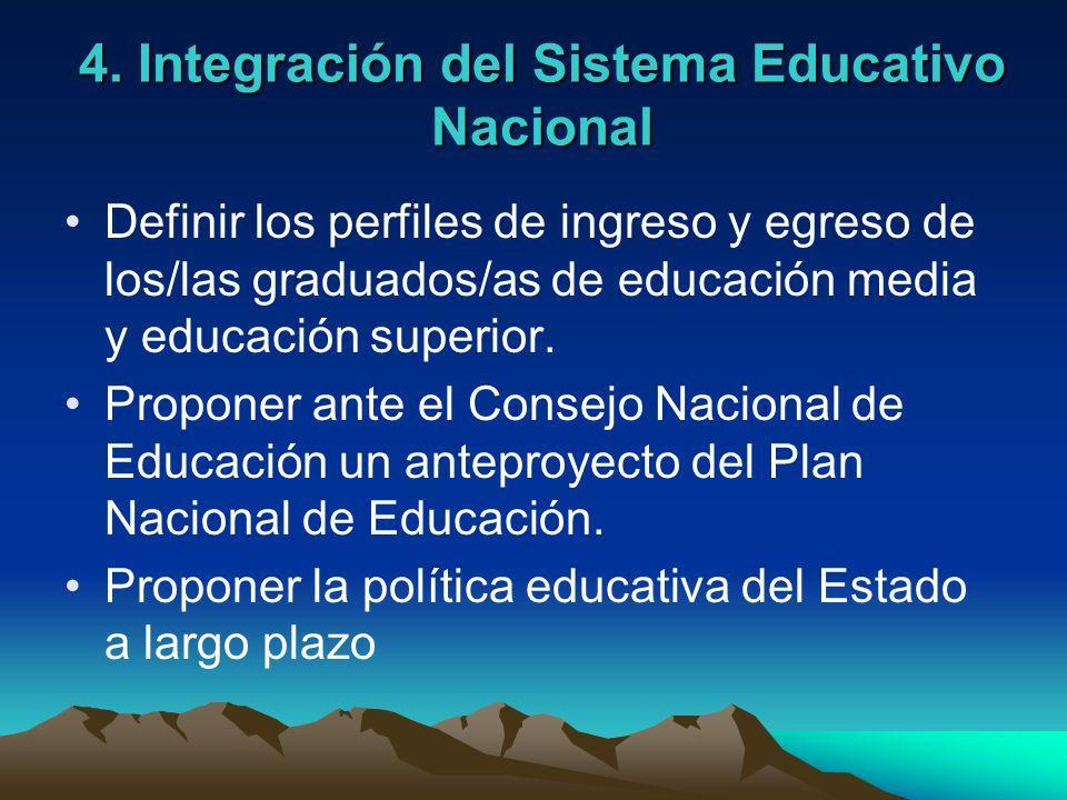 4. Integración del Sistema Educativo Nacional Definir los perfiles de ingreso y egreso de los/las graduados/as de educación media y educación superior