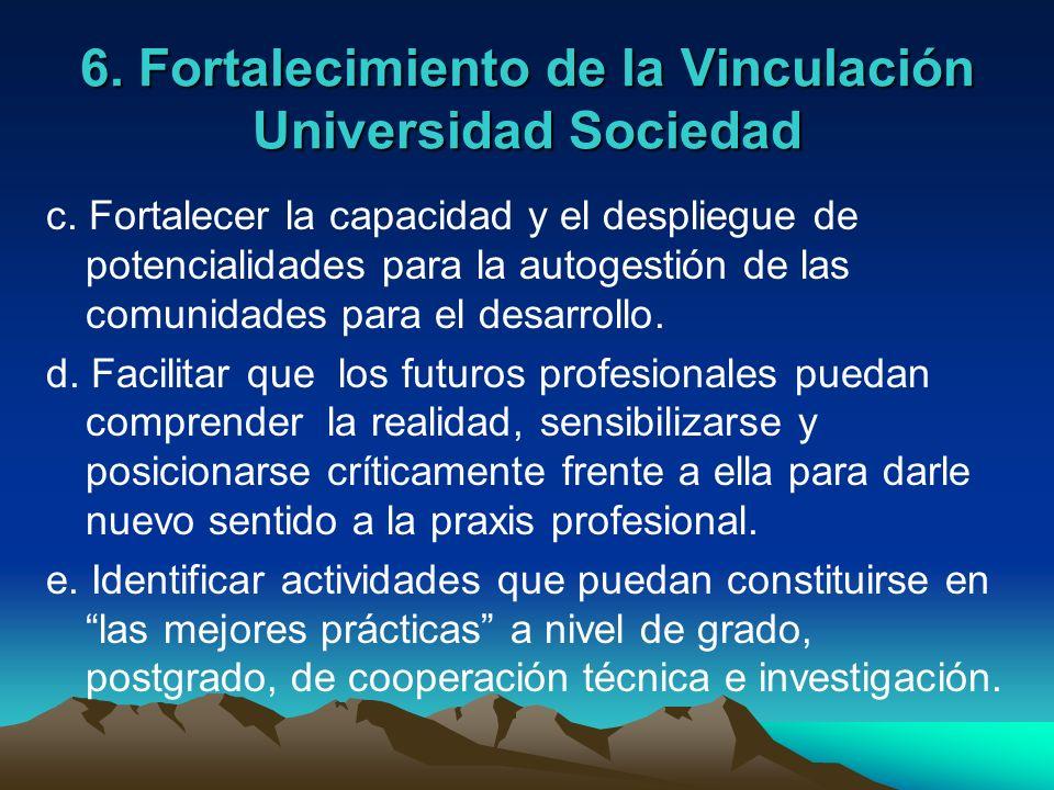 6. Fortalecimiento de la Vinculación Universidad Sociedad c. Fortalecer la capacidad y el despliegue de potencialidades para la autogestión de las com