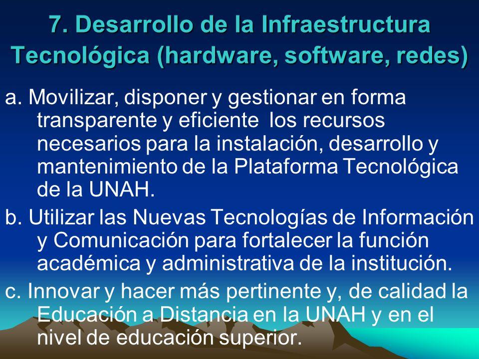 7. Desarrollo de la Infraestructura Tecnológica (hardware, software, redes) a. Movilizar, disponer y gestionar en forma transparente y eficiente los r