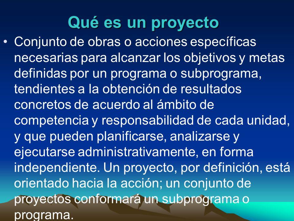Qué es un proyecto Conjunto de obras o acciones específicas necesarias para alcanzar los objetivos y metas definidas por un programa o subprograma, te