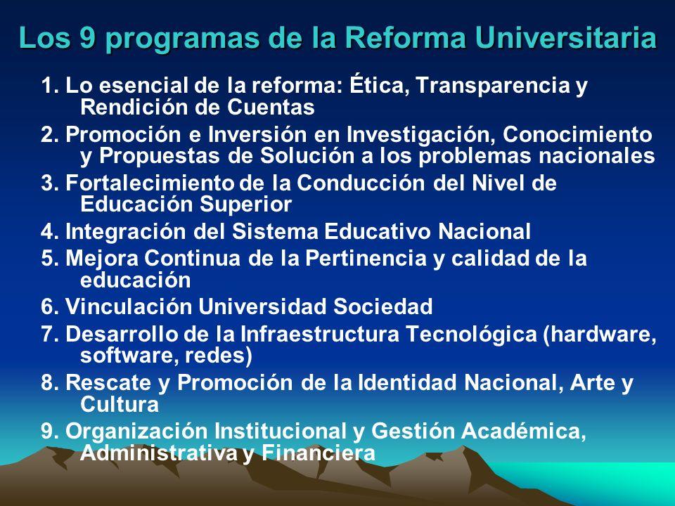 Los 9 programas de la Reforma Universitaria 1. Lo esencial de la reforma: Ética, Transparencia y Rendición de Cuentas 2. Promoción e Inversión en Inve
