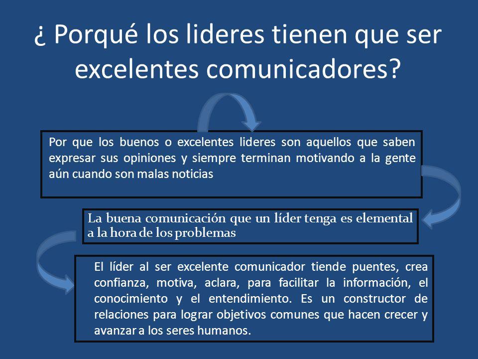¿ Porqué los lideres tienen que ser excelentes comunicadores? Por que los buenos o excelentes lideres son aquellos que saben expresar sus opiniones y