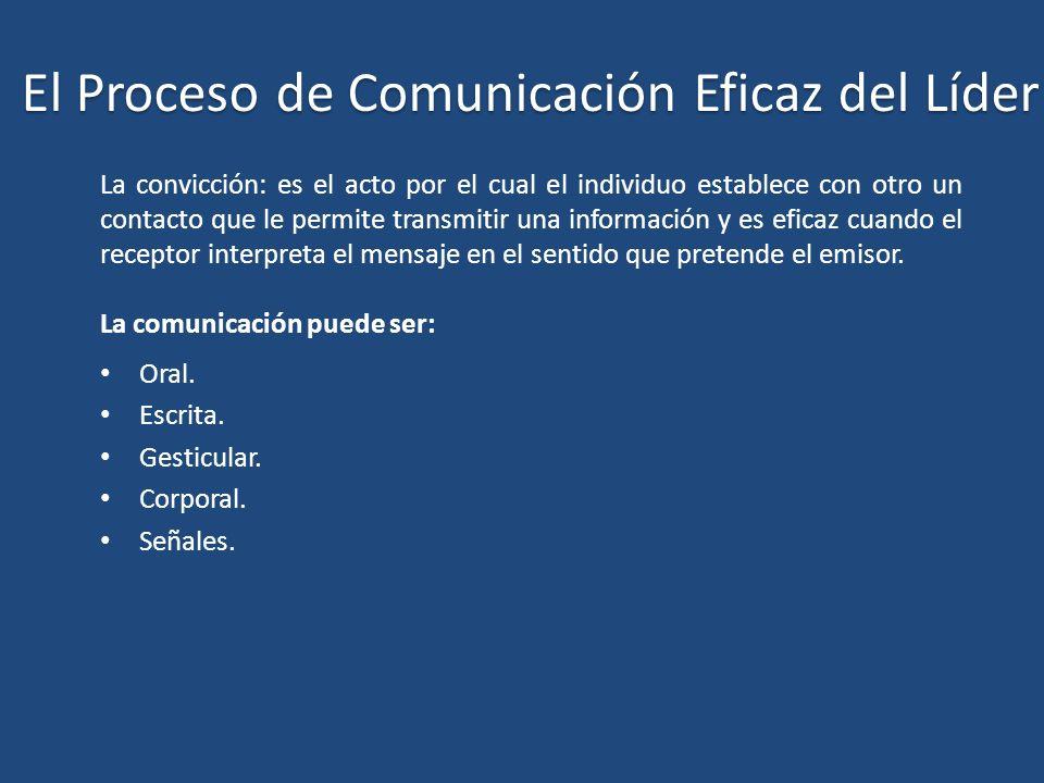 El Proceso de Comunicación Eficaz del Líder La convicción: es el acto por el cual el individuo establece con otro un contacto que le permite transmiti