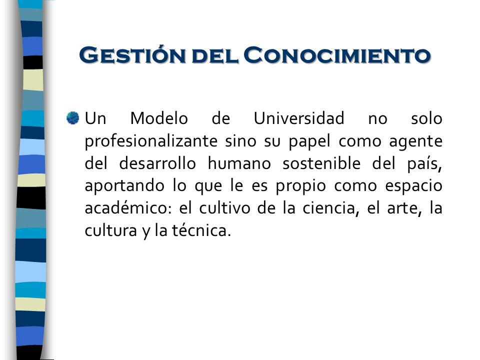 Gestión del Conocimiento Un Modelo de Universidad no solo profesionalizante sino su papel como agente del desarrollo humano sostenible del país, aport