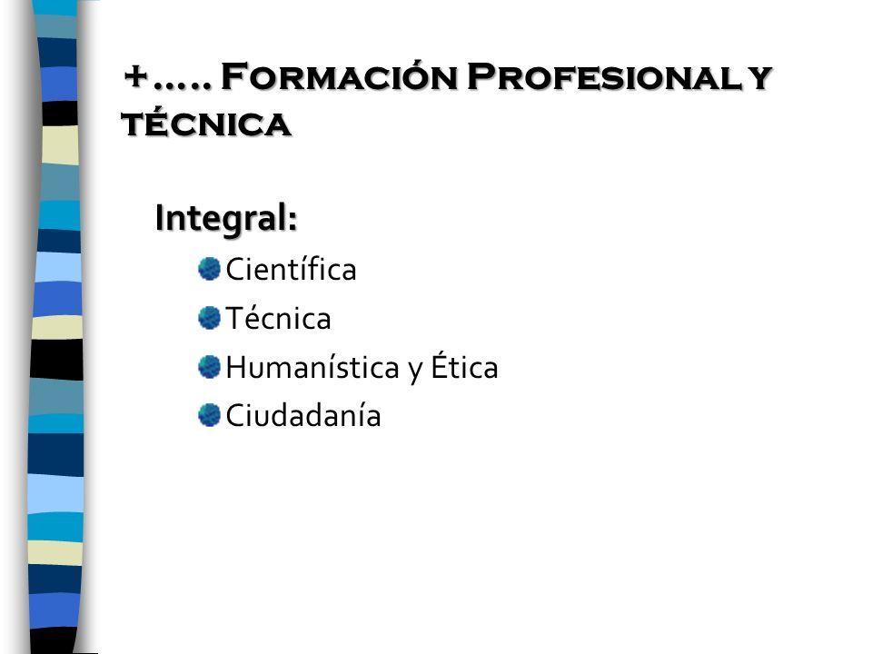 +….. Formación Profesional y técnica Integral: Científica Técnica Humanística y Ética Ciudadanía