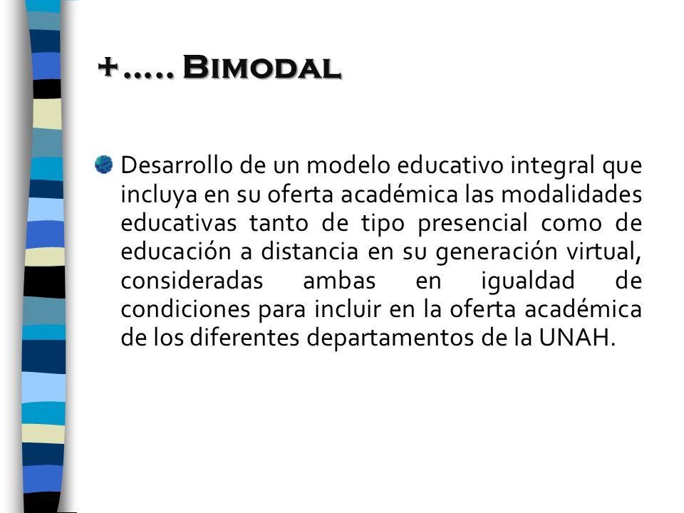 +….. Bimodal Desarrollo de un modelo educativo integral que incluya en su oferta académica las modalidades educativas tanto de tipo presencial como de