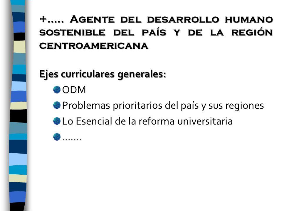 +….. Agente del desarrollo humano sostenible del país y de la región centroamericana Ejes curriculares generales: ODM Problemas prioritarios del país