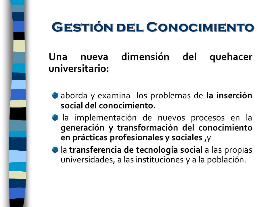 Gestión del Conocimiento Una nueva dimensión del quehacer universitario: aborda y examina los problemas de la inserción social del conocimiento. la im
