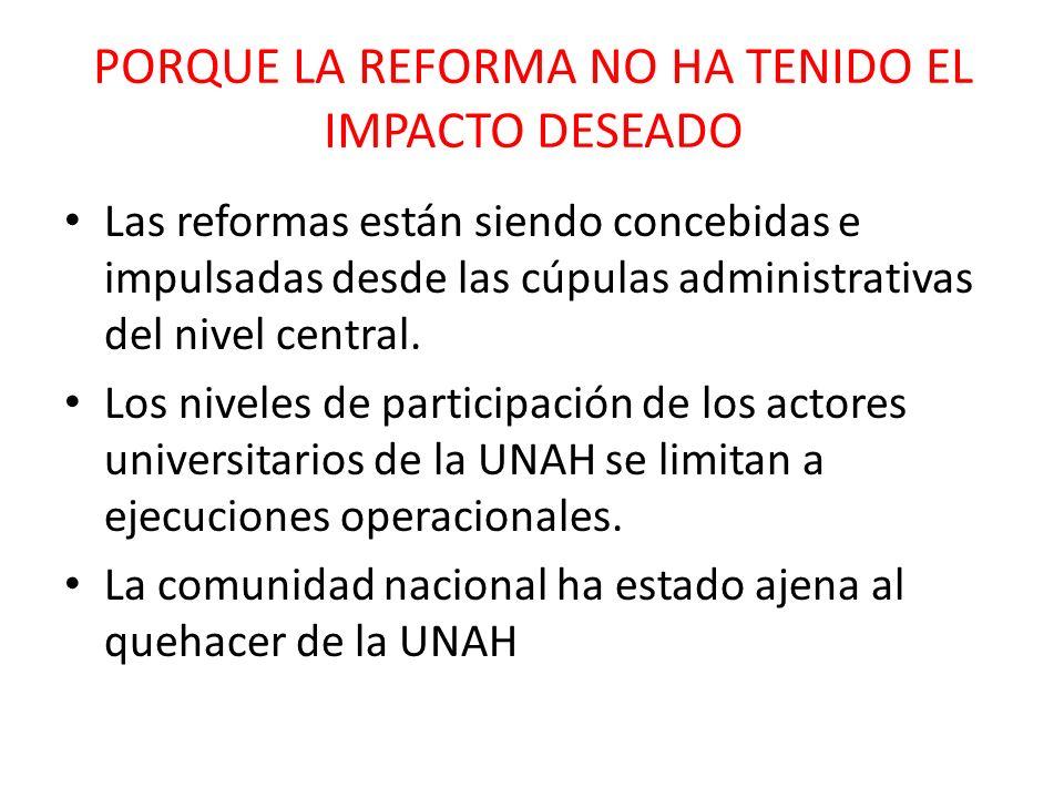 PORQUE LA REFORMA NO HA TENIDO EL IMPACTO DESEADO Las reformas están siendo concebidas e impulsadas desde las cúpulas administrativas del nivel centra