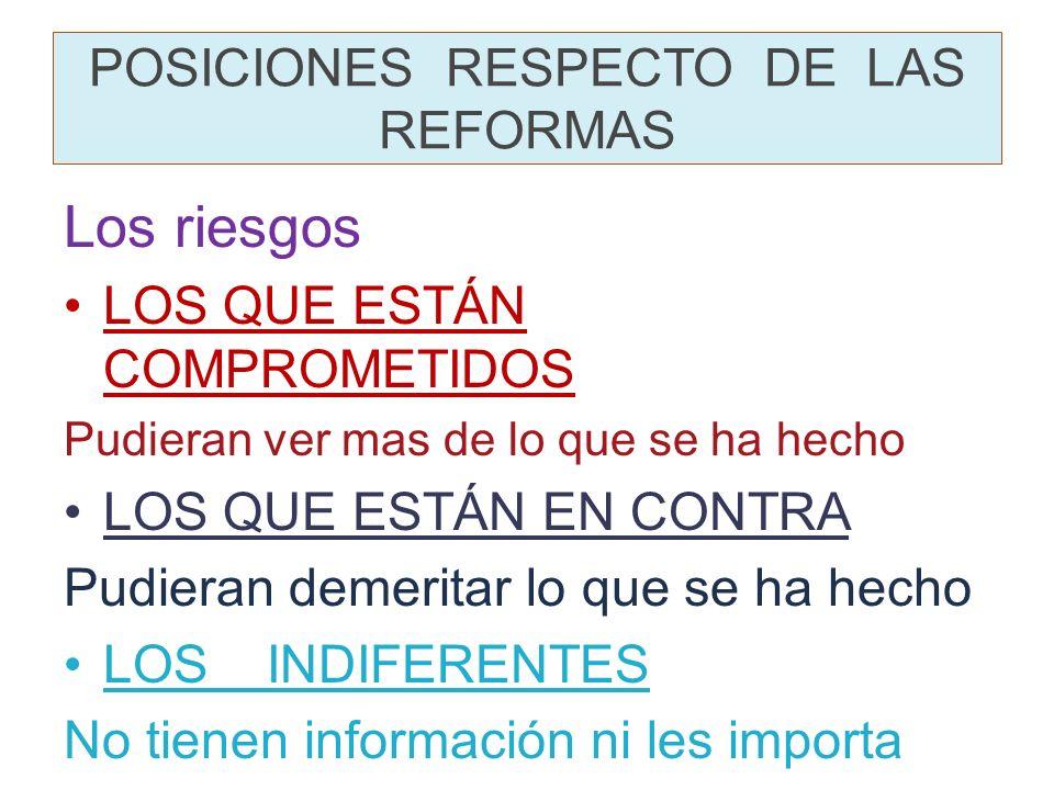 Criterios de valoración de las reformas Lo proclamado Las reformas en proceso Lo que se ha estancad o y/o tergiversado