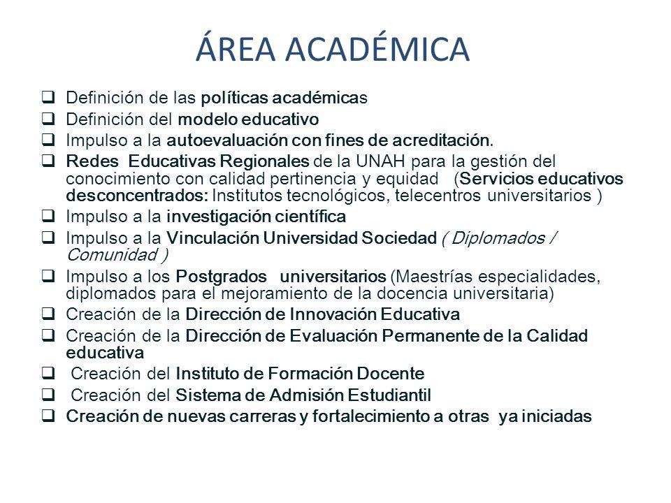 ÁREA ACADÉMICA Definición de las políticas académicas Definición del modelo educativo Impulso a la autoevaluación con fines de acreditación. Redes Edu