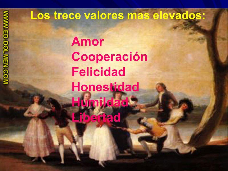 Los trece valores mas elevados: Amor Cooperación Felicidad Honestidad Humildad Libertad