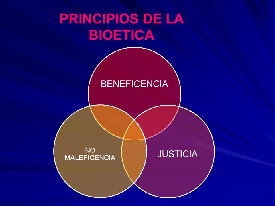 PRINCIPIOS DE LA BIOETICA BENEFICENCIA JUSTICIA NO MALEFICENCIA