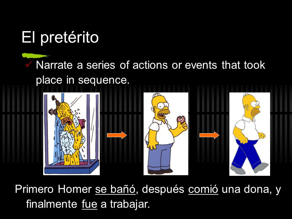 El pretérito Narrate a series of actions or events that took place in sequence. Primero Homer se bañó, después comió una dona, y finalmente fue a trab
