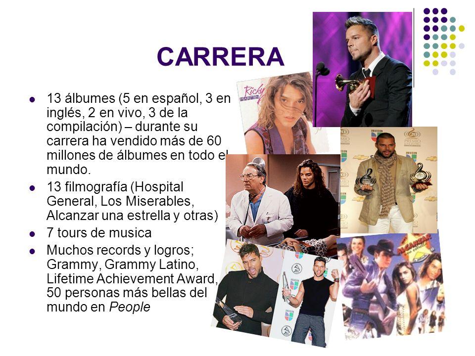 CARRERA 13 álbumes (5 en español, 3 en inglés, 2 en vivo, 3 de la compilación) – durante su carrera ha vendido más de 60 millones de álbumes en todo e