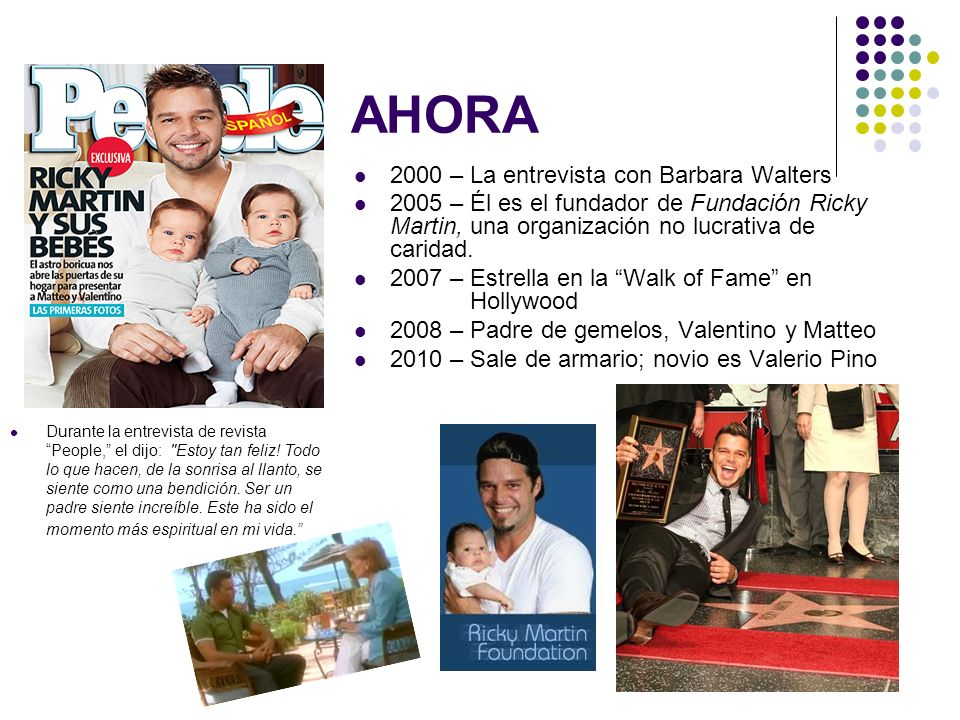 AHORA 2000 – La entrevista con Barbara Walters 2005 – Él es el fundador de Fundación Ricky Martin, una organización no lucrativa de caridad. 2007 – Es