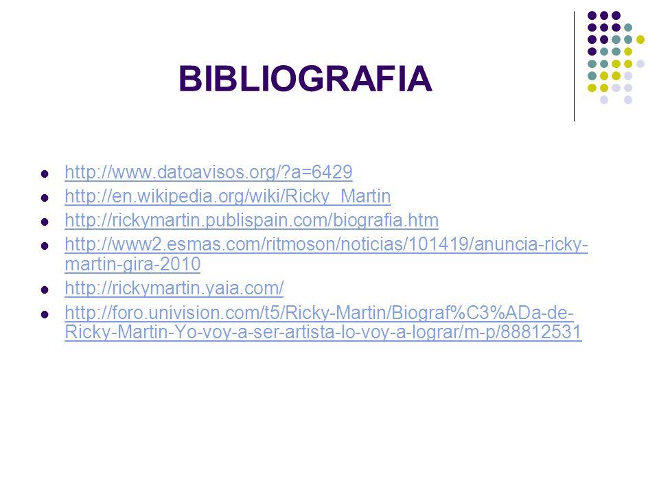 BIBLIOGRAFIA http://www.datoavisos.org/?a=6429 http://en.wikipedia.org/wiki/Ricky_Martin http://rickymartin.publispain.com/biografia.htm http://www2.e