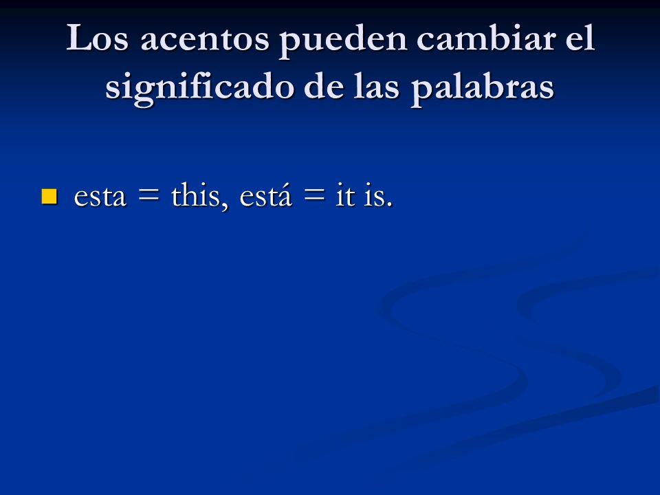 Los acentos pueden cambiar el significado de las palabras esta = this, está = it is. esta = this, está = it is.