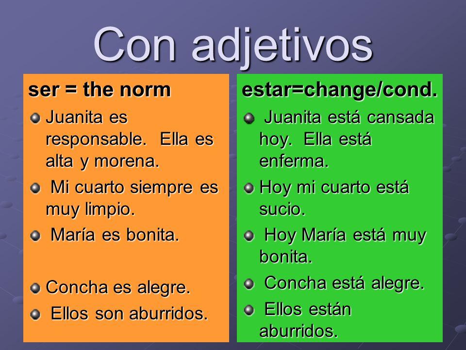 Con adjetivos ser = the norm Juanita es responsable.