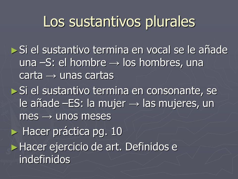 Los sustantivos plurales Si el sustantivo termina en vocal se le añade una –S: el hombre los hombres, una carta unas cartas Si el sustantivo termina e