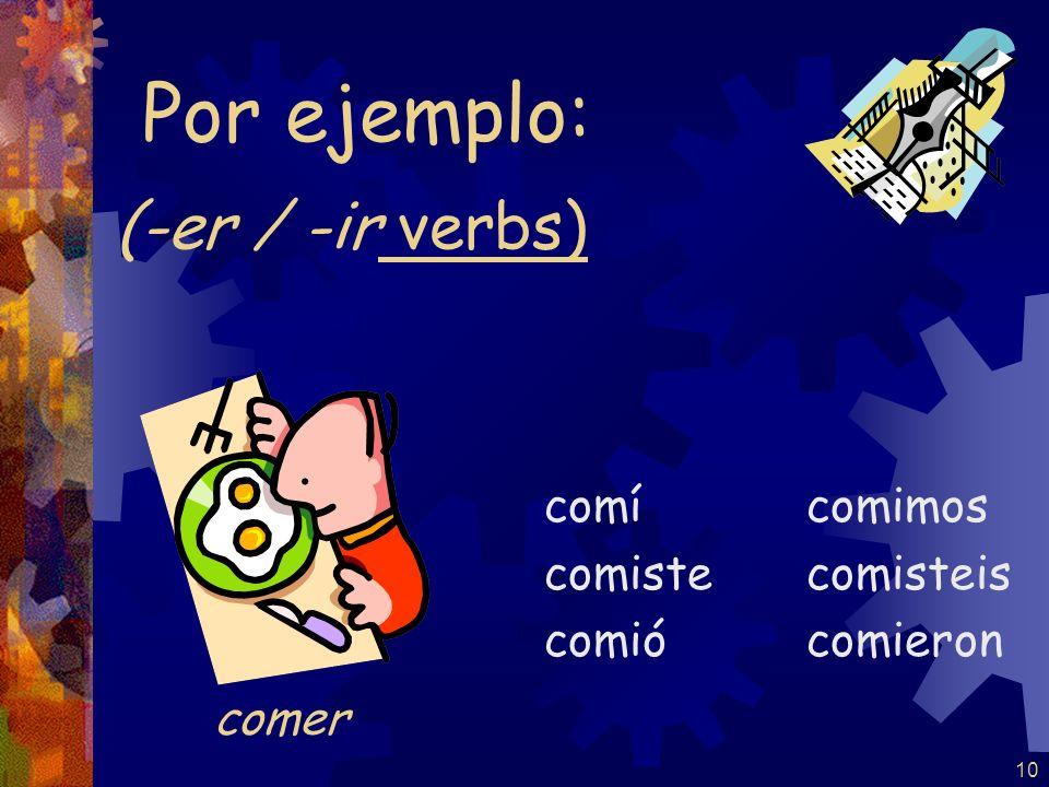 9 (-ar verbs) trabajé trabajaste trabajó trabajamos trabajasteis trabajaron Por ejemplo: trabajar