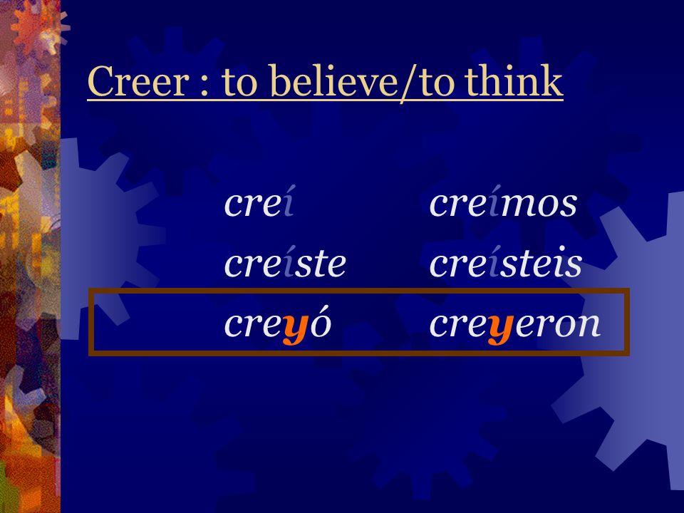 Caer(se) : to fall (down) Only people can use reflexive pronouns (to fall down) Hay acentos encima de los i (me) caí(nos) caímos (te) caíste(os) caíst
