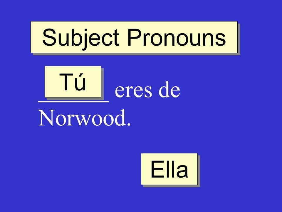 Subject Pronouns ______ eres de Norwood. Tú Ella
