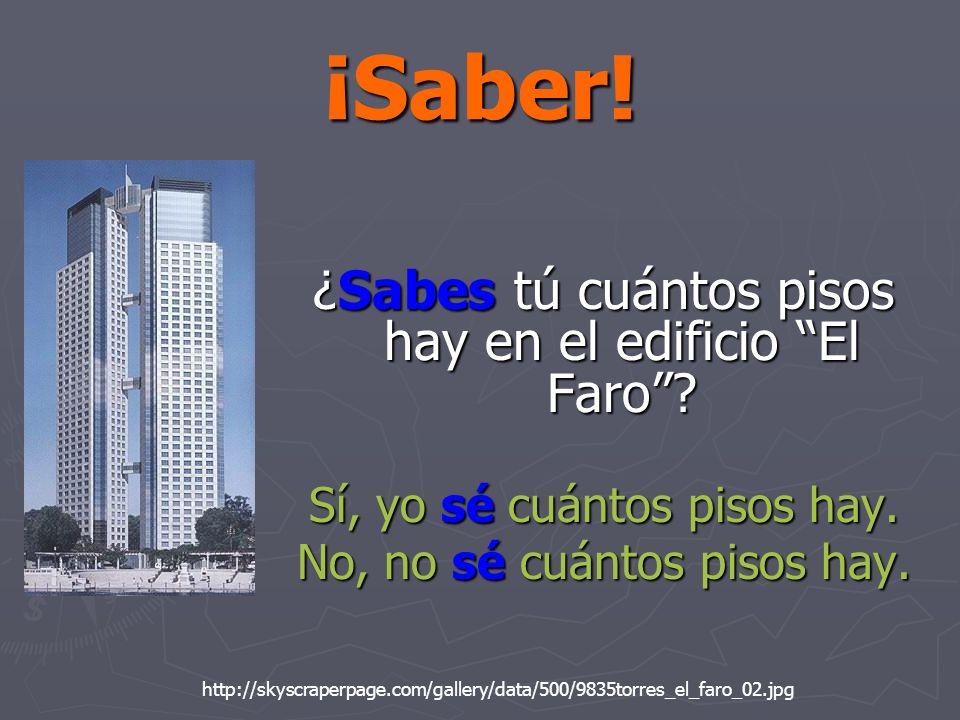 ¡Saber! ¿Sabes tú cuántos pisos hay en el edificio El Faro? Sí, yo sé cuántos pisos hay. No, no sé cuántos pisos hay. http://skyscraperpage.com/galler