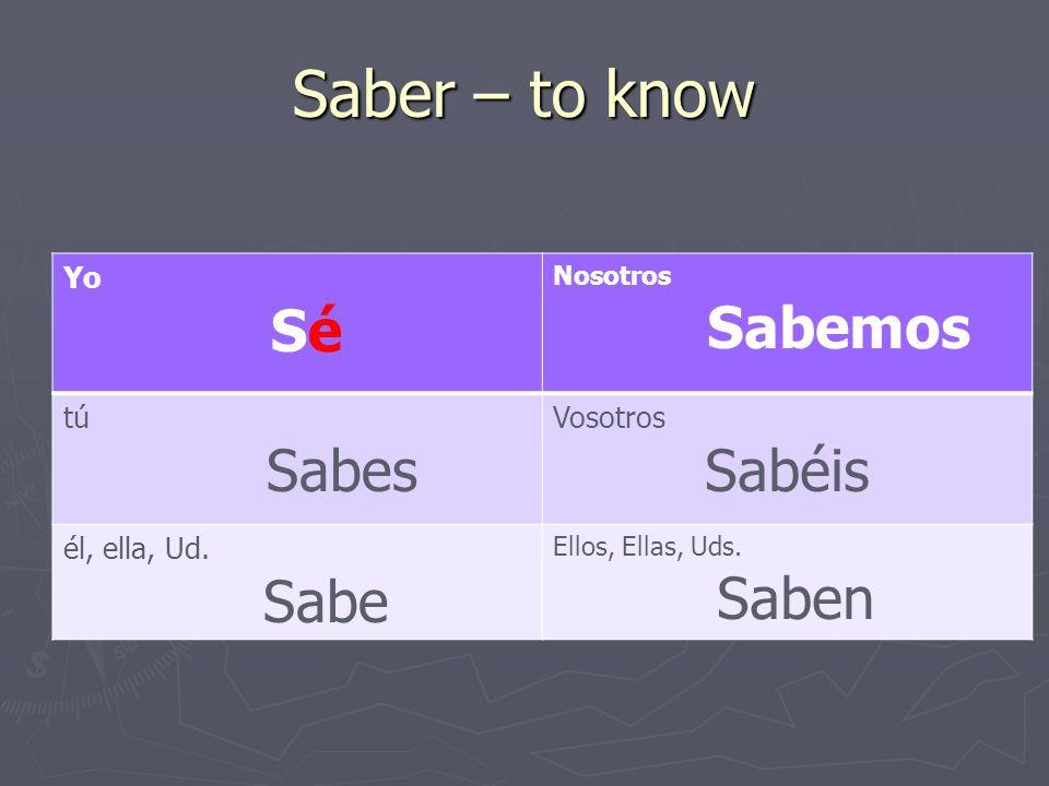 Saber – to know Yo Sé Nosotros Sabemos tú Sabes Vosotros Sabéis él, ella, Ud.