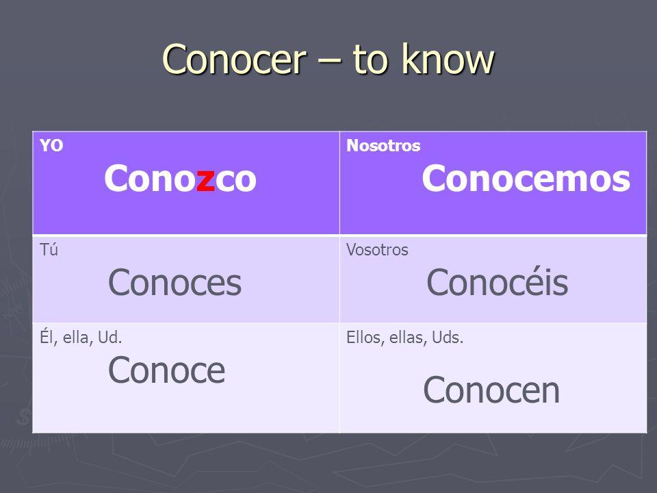 Conocer – to know YO Conozco Nosotros Conocemos Tú Conoces Vosotros Conocéis Él, ella, Ud.