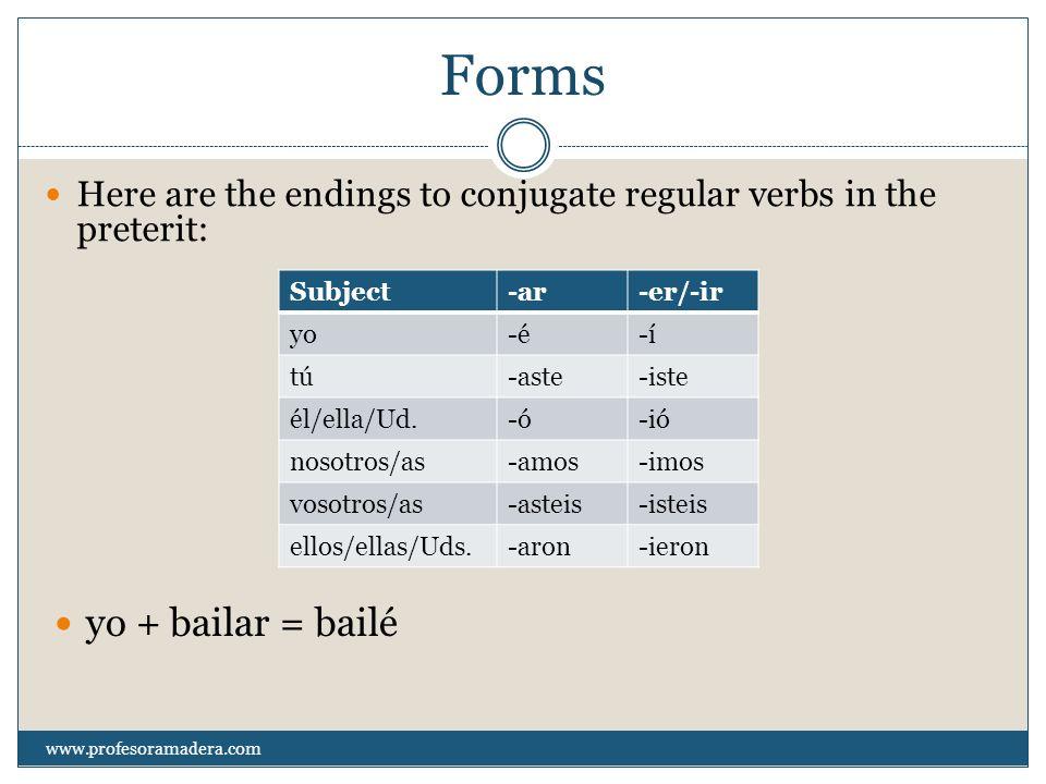 Examples of regular preterit conjugations No bebí leche anoche.