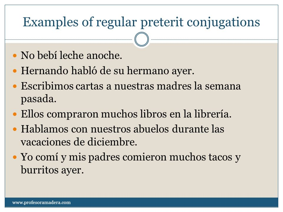 Examples of regular preterit conjugations No bebí leche anoche.