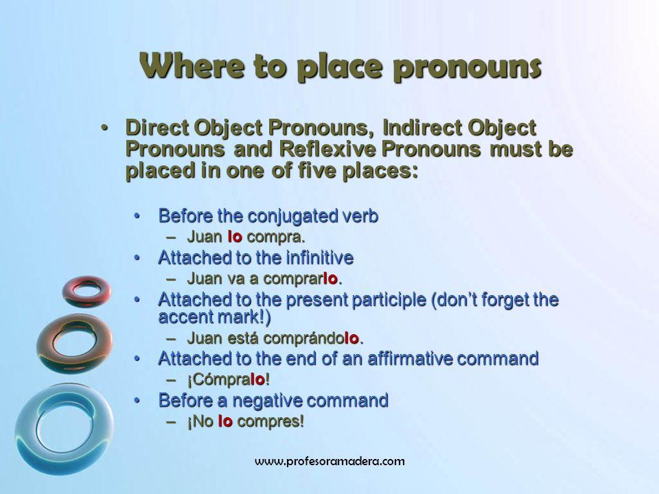 Where to place pronouns Direct Object Pronouns, Indirect Object Pronouns and Reflexive Pronouns must be placed in one of five places:Direct Object Pronouns, Indirect Object Pronouns and Reflexive Pronouns must be placed in one of five places: Before the conjugated verbBefore the conjugated verb –Juan lo compra.